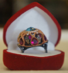 Blue Topaz, pink tourmaline and oxidised silver ring