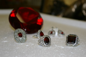 red crystal garnet and silver